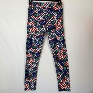 LuLaRoe Patriotic Lady Liberty Leggings - One Size